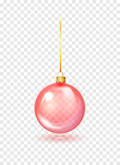 Fotobehang Bol Red Christmas glass toys on a transparent background. Christmas ball hanging on gold string. Template shiny toy. Vector glass xmas bauble template. Isolated object