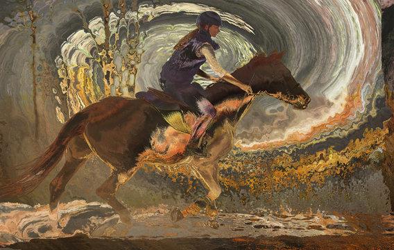 artwork of girl riding a horse