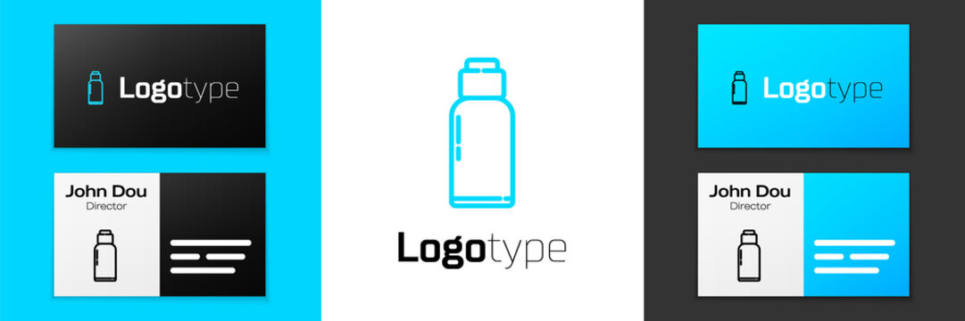 Grey line Canteen water bottle icon isolated on white background. Tourist flask icon. Jar of water use in the campaign.  Vector Illustration