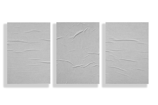 Three crumpled sheets of paper isolated on a white background.