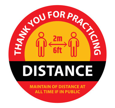 Thank you for practising social distancing 2m or 6ft distance to prevent the spread of coronavirus (covid-19) vector sign