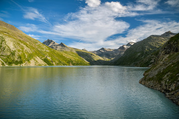 Wall Mural - Beautiful Mattmark lake in upper part of Saas valley in southern Switzerland