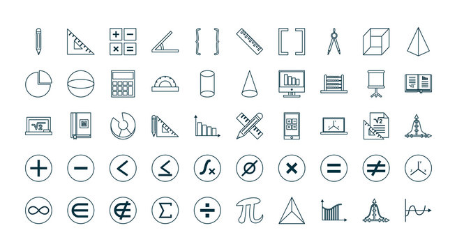 Math line style icon set vector design