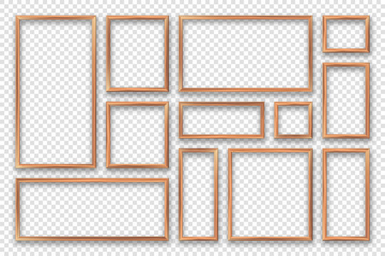 Realistic blank wooden picture frames collection. Modern poster mockup. Empty photo frame with texture of wood. Vector illustration.