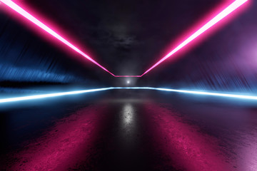 Three dimensional render of futuristic corridor illuminated by blue and purple neon lighting Papier Peint