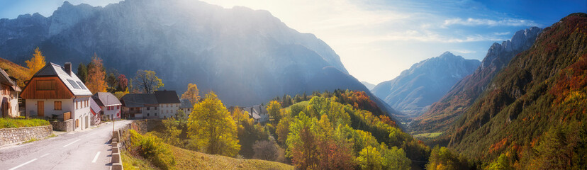 Slovenia, Panorama of village in?Triglav?National Park with forested valley in background Fotobehang