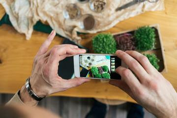 Close-up of man taking smartphone picture of microgreens on table