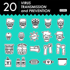 virus transmission and prevention icons-lineal