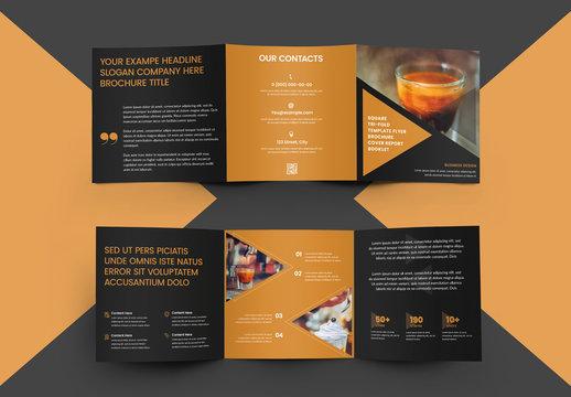 Square Tri-Fold Brochure with Triangles  Elements Design
