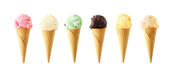 Large assortment of ice cream cones. Various flavors isolated on a white background