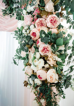Holiday decoration with flowers bouquet