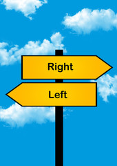 dilemma concept, right or left , yellow arrows different directions