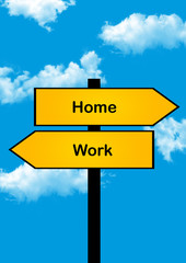 dilemma concept, home or work , yellow arrows different directions