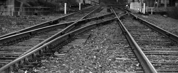 Spoed Fotobehang Spoorlijn Panoramic View Of Railroad Tracks