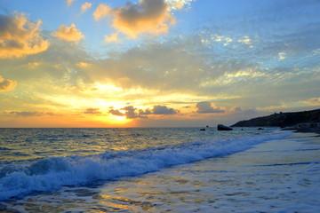 Foto op Plexiglas Caraïben Scenic View Of Sea Against Sky During Sunset