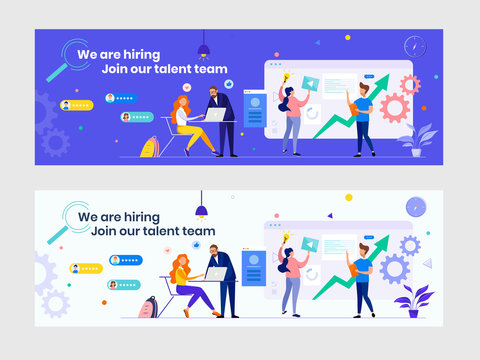 We are hiring recruitment banner with flat people. HR manager, hire employees to join our company. Job vacancy. Business teamwork consulting concept. Great for Twitter, Facebook, Linkedin etc cover