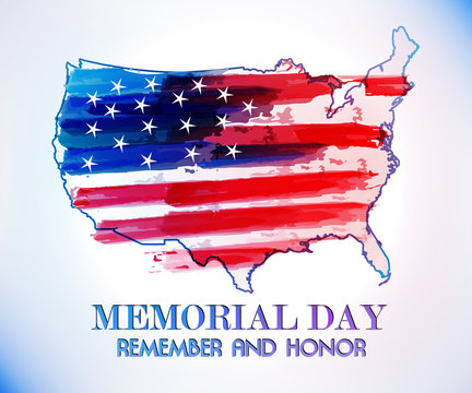 Memorial Day USA Map Flag Vector Image Watercolor