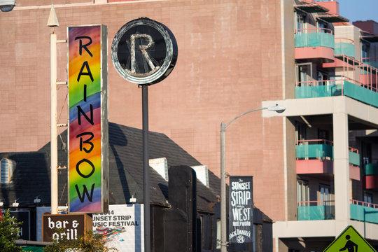 Sunset Strip landmarks the Rainbow Room and the Roxy, along Sunset Boulevard in Hollywood, California.