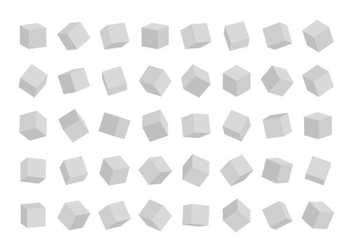 Set of cubes in different angles view isolated on white background. Vector illustration