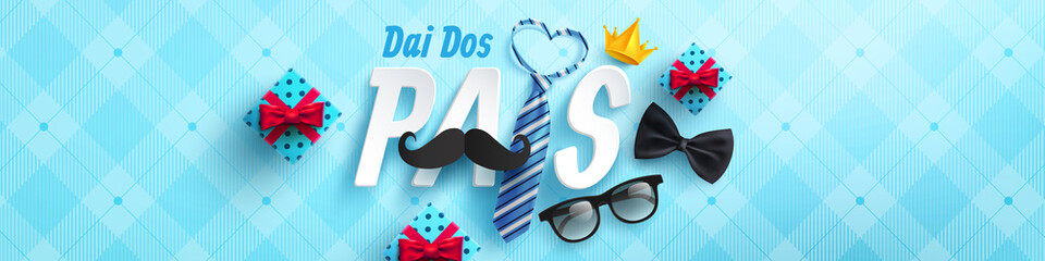 Happy Father's Day card in portuguese words with necktie and glasses for dad on blue.Promotion and shopping template for Father's Day.Vector illustration EPS10