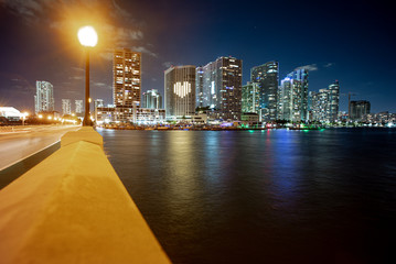 Miami City Skyline viewed from Biscayne Bay. Miami, Florida, USA downtown skyline. Miami Skyline...