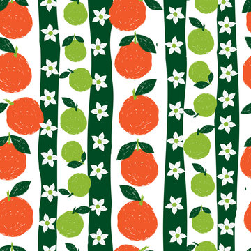Vector colorful textured orange fruit pen sketch repeat pattern with white background. Suitable for textile, gift wrap and wallpaper.