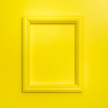 Yellow frame on yellow background 3d rendering. 3d illustration Modern picture frame, Empty yellow border frame, Blank picture frame on yellow wall template minimal concept.