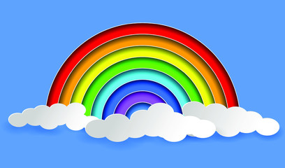 Rainbow and clouds. Layered Paper art style. EPS10