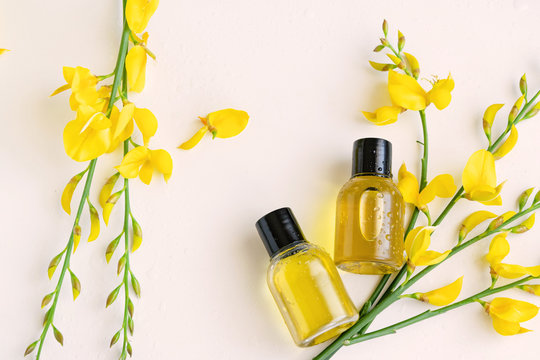Essential oil with gorse flower extract. Hygiene bath product. Wellness therapy regeneration