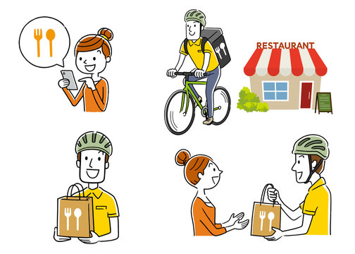 Stock illustration: food delivery, deliveryman, bicycle, set, collection