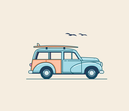 Surfing car. Retro blue SUV truck with surfboard on the roof rack isolated on white background. Summer time vacation illustration for poster or card or t-shirt design. Flat styled vector illustration