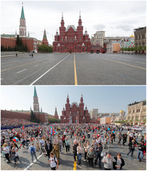 A combination picture shows Red Square on Victory Day in 2020 and 2019