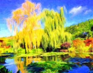 Papiers peints Jaune Impressionnisme . Giverny, département de l'Eure. Bassin du jardin Claude Monet