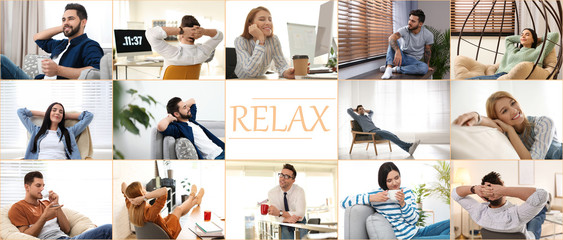 Collage of different people resting indoors and word Relax. Banner design