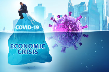 Foto auf Leinwand Texturen Economic crisis concept in coronavirus covid-19
