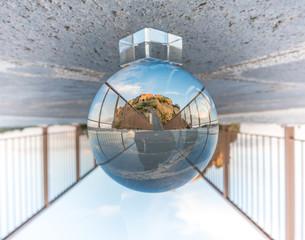 Lensball photo of Civita di Bagnoregio - Northern Latium (Italy)