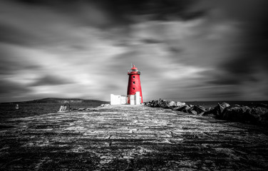 The red Poolbeg Lighthouse in Dublin port.