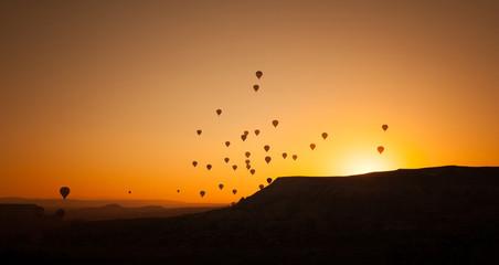 Hot air balloon flying in Cappadocia, Turkey.