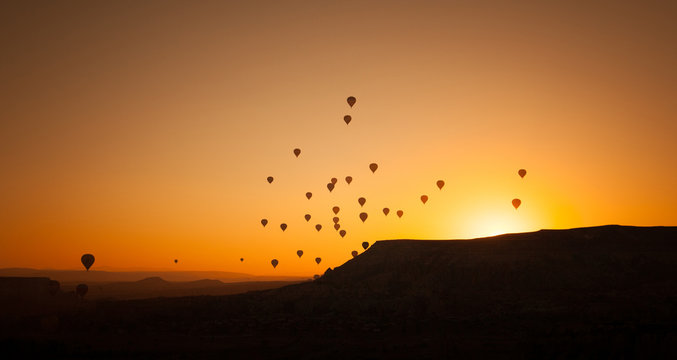 Hot air balloon flying in Cappadocia, Turkey.