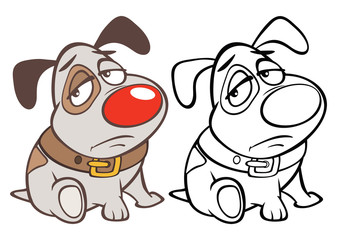 Vector Illustration of a Cute Cartoon Character Hunting Dog for you Design and Computer Game. Coloring Book Outline
