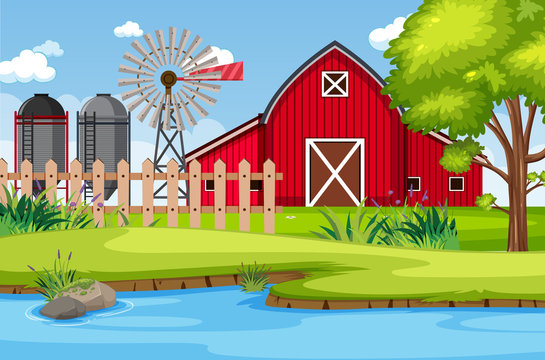 Background scene with red barn and windmill on the farm