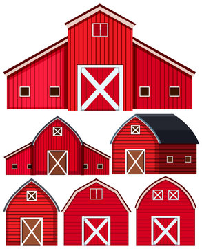 Set of red barns on white background