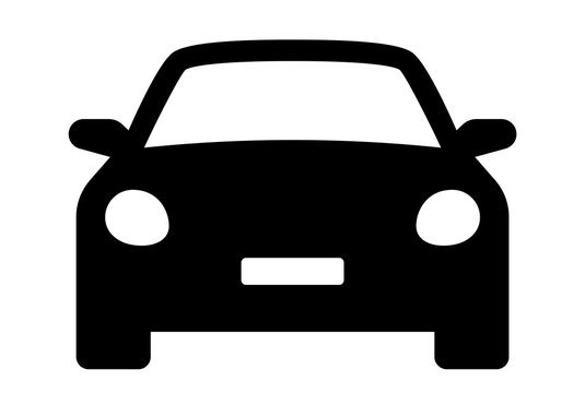 Car icon. Auto vehicle isolated. Transport icons. Automobile silhouette front view. Sedan car, vehicle or automobile symbol on white background - stock vector.