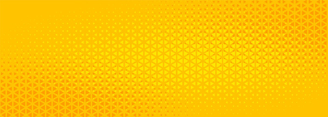 bright yellow triangle halftone abstract banner design