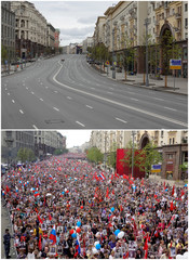 A combination picture shows Tverskaya Street on Victory Day in 2020 and 2019