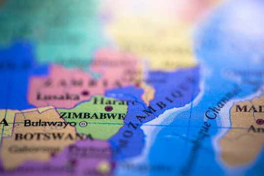 Geographical map location of country Zimbabwe in Africa continent on atlas