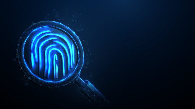 Magnifying glass over fingerprint from lines, triangles, particle, Low poly and wireframe design. Vector illustration