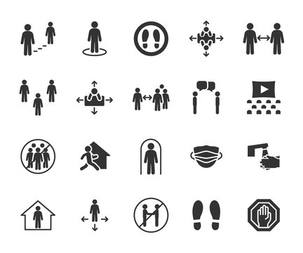 Vector set of social distance flat icons. Contains icons safe distance, self-isolation, avoiding crowds, stay home, talking at a distance, safe workplace, and more. Pixel perfect.