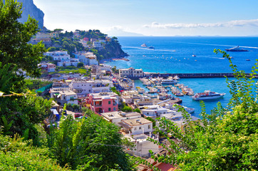 Beautiful summer vacation on Capri Island in Campania, Italy with breathtaking landscape scenery for romantic holidays with Mediterranean design and style Fototapete