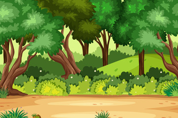 Garden Poster Green Background scene with many trees in the forest